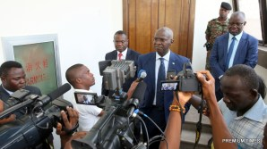 Hon. Minister of Power, Works & Housing, Mr Babatunde Fashola, SAN (left), Minister of Mines, Energy and Water of Benin, Mr Jean – Claude Houssou (left) and Secretary General of the West African Power Pool (WAPP), Siengui . Apollinaire Ki (right) speaking with Journalists shortly after the Opening Session of the Forum on Electricity Market Development in West Africa organized by WAPP at the Palais des Congres, Cotonou, Benin Republic on Monday 16th, January 2017.