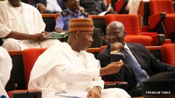 Minister of Power, Works & Housing, Mr Babatunde Fashola, SAN (right) and Minister of State, Aviation, Senator Hadi Sirika (left) during a Briefing of the Senate on the Planned Closure of the Nnamdi Azikwe International Airport, Abuja Runway for Repairs at the Senate Chamber on Tuesday, 17th January 2017.