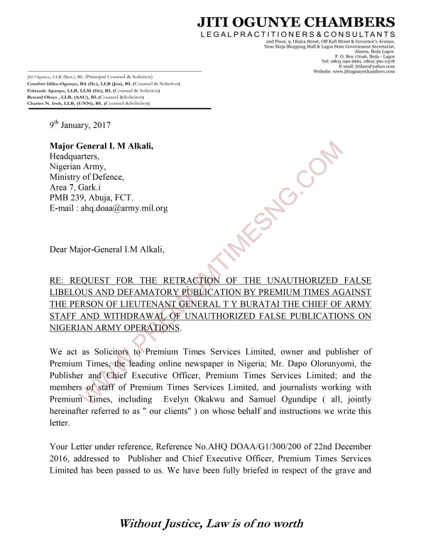 premium times letter to gen alkali and nigerian army 1