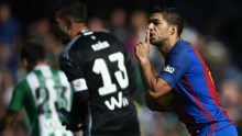 Luis Suarez celebrates his goal against Real Betis Photo: Goal.com