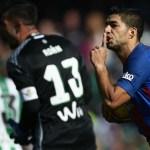 Luis Suarez celebrates his goal against Real Betis Photo: Goal.com