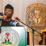FILE PHOTO: Acting President Osinbajo speaking at the Niger Delta town-hall stakeholder's meeting in Rivers State. 13th Feb 2017. Photo: Novo Isioro.
