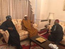 FILE PHOTO:  Muhammadu Buhari with APC Chieftains, Bisi Akande and Bola Tinubu in London