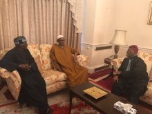 FILE PHOTO:  Muhammadu Buhari with APC Chieftains, Bisi Akande and Bola Tinubu in London
