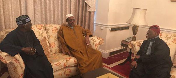 President Muhammadu Buhari with APC Chieftains, Bisi Akande and Bola Tinubu in London