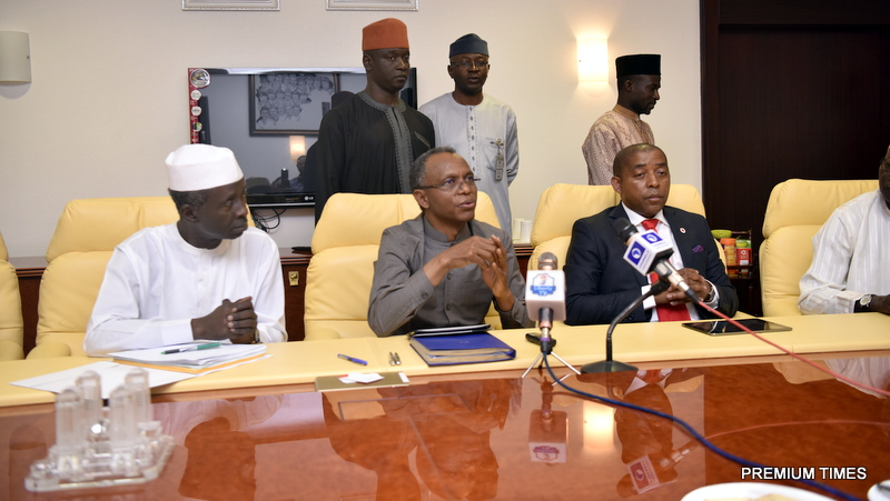 A joint press briefing by Malam Nasir El-Rufai, governor of Kaduna State, and Vuyani Jarana, chairman of Vodacom Business Nigeria.