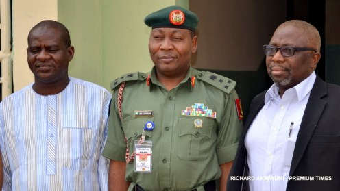 Army Spokesperson, Brigadier-General Sani Usman with PREMIUM TIMES Publisher, Dapo Olorunyomi and Editor-in-Chief, Musikilu Mojeed
