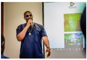 Don Jazzy speaking at Flobyt launch in Lagos on Friday