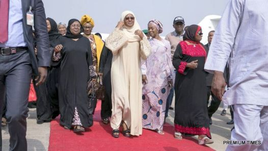 Aisha Buhari arriving the Nnamdi Azikiwe International Airport, Abuja