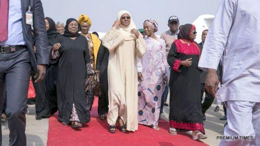 Aisha Buhari arriving the Nnamdi Azikiwe International Airport, Abuja