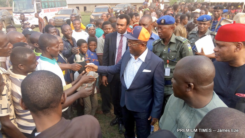 Gov Umahi commiserating with the victims
