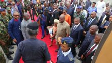 Acting President, Yemi Osinbajo being welcomed by Rivers State Governor, Nyesom Wike