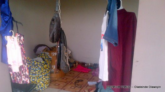 Oluwaseun's store, the only stall opened for business on the floor