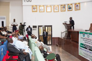 """Hon. Minister of Power, Works & Housing, Mr Babatunde Fashola,SAN(right) delivering his presentation on, """"Governance at the State and Local Government Levels: Imperatives for National Security in Nigeria,"""" at the 7th Edition of the National Security Seminar 2017 organized by the Alumni Association of the National Defence College with the theme, """"Consolidating on the Gains of Counter Terrorism Operations in Nigeria,"""" at the National Defence College Auditorium, Abuja on Tuesday 21st, February 2017."""