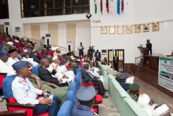 "Hon. Minister of Power, Works & Housing, Mr Babatunde Fashola,SAN(right) delivering his presentation on, ""Governance at the State and Local Government Levels: Imperatives for National Security in Nigeria,"" at the 7th Edition of the National Security Seminar 2017 organized by the Alumni Association of the National Defence College with the theme, ""Consolidating on the Gains of Counter Terrorism Operations in Nigeria,"" at the National Defence College Auditorium, Abuja on Tuesday 21st, February 2017."