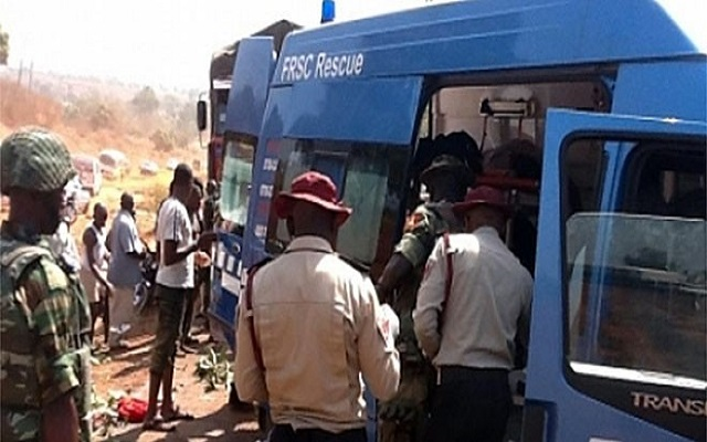 FRSC officials at a scene of an accident