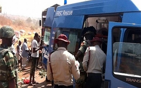 FILE PHOTO: FRSC officials at a scene of an accident