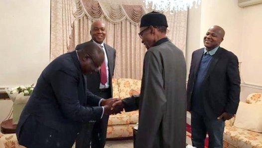 President Muhammadu Buhari receives Senate President, Bukola Saraki; Speaker, House of Representatives and Senate Leader, Ahmed Lawan in London