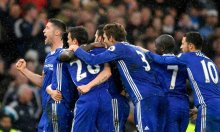 Chelsea players celebrating after a goal was  scored