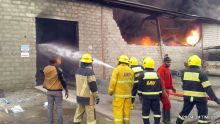 Scene of fire outbreak in Lagos factory