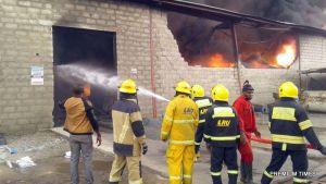 Scene of fire outbreak in Lagos factory