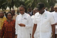 Delta State Governor, Senator Ifeanyi Okowa (middle); Commissioner for Basic and Secondary Education, Mr. Chiedu Ebie (right) and Principal, Chude Model Girls School Sapele, (Mrs.) Adelie Ominiabors
