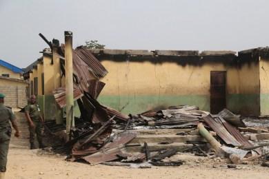 The destroyed hostel