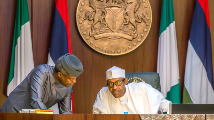 President Muhammdu Buhari and Vice President, Yemi Osinbajo at the FEC meeting on the 22nd of March 2017 [Photo Credit: Novo Isioro]