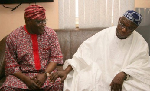 Former President, Olusegun Obasanjo with his vice, Atiku Abubakar