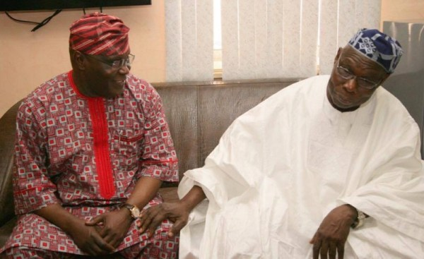 Former President, Olusegun Obasanjo with his vice, Atiku Abubakar