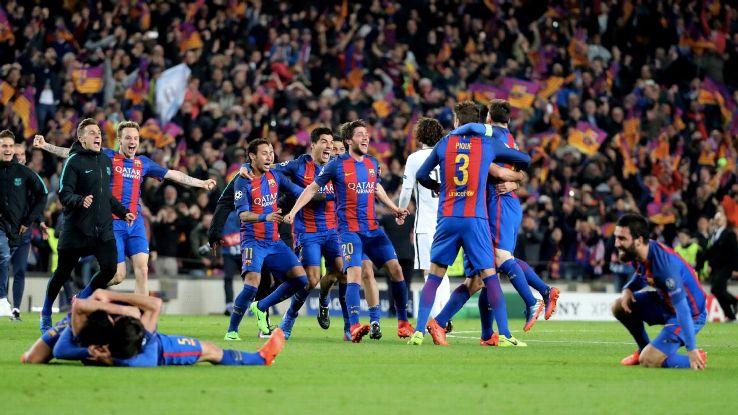 Barcelona celebrates after the match [Photo: ESPN]