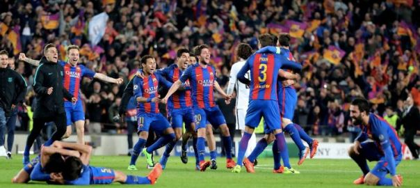 Barcelona celebrates after the match [Photo: ESPN]