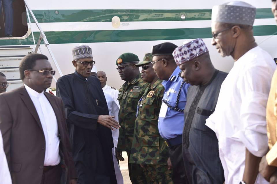 UPDATED: Buhari arrives Aso Rock, meets Osinbajo, others