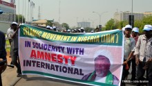 Shiites hold solidarity rally for Amnesty International. [Photo: Idris Ibrahim]