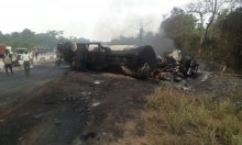 burnt tanker used to illustrate the story