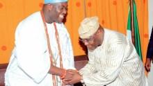 Ooni of Ife, Adeyeye Enitan Ogunwusi (L) and Former Vice President Atiku Abubakar (R)