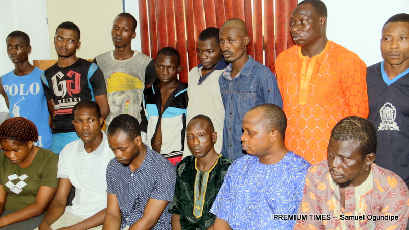 Some of the suspects paraded by the Nigerian Police