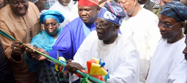 Lagos State Governor, Mr. Akinwunmi Ambode (middle); Asiwaju Bola Ahmed Tinubu (2nd right); Osun State Governor, Ogbeni Rauf Aregbesola (right); Deputy Governor, Dr. (Mrs) Oluranti Adebule (2nd left); Special Adviser on Primary Health Care (Lagos), Dr. Olufemi Onanuga (left) the during the commissioning of the newly built Asiwaju Bola Ahmed Tinubu Comprehensive Primary Health Care Centre at Church Street, Agbelekale in Agbado/Oke-Odo LCDA, Lagos, on Wednesday, March 29, 2017.