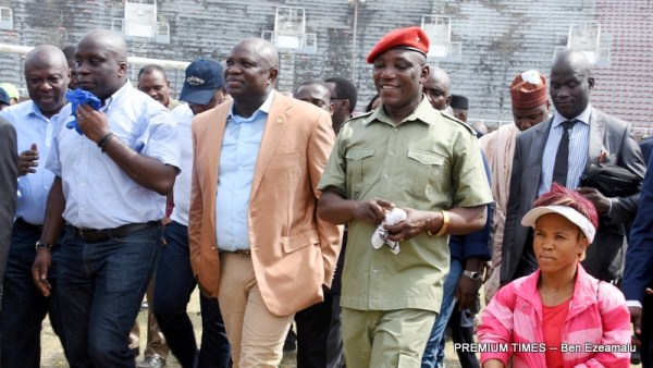 Lagos State Governor, Mr. Akinwunmi Ambode (2nd left); Special Adviser to the Governor on Sports, Mr. Deji Tinubu (left); Minister of Youth and Sports, Barr. Solomon Dalung (2nd right) and Olympic Gold Medalist, Lauritta Onye (right) during the inspection visit to the National Stadium, Surulere, on Wednesday, March 1, 2017.