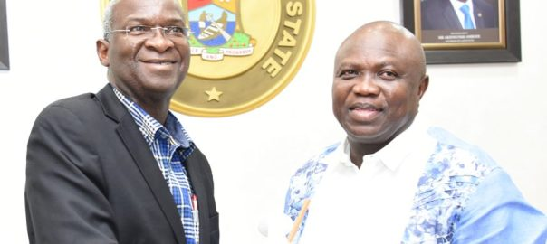 Lagos State Governor, Mr. Akinwunmi Ambode (right), presenting an Eyo plaque to the Minister of Works, Power & Housing, Mr. Babatunde Fashola during the Minister's courtesy visit to the Governor at the Lagos House, Ikeja, on Saturday, March 25, 2017.