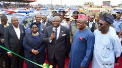 Lagos State Governor, Mr. Akinwunmi Ambode (middle); Deputy Governor, Dr. (Mrs) Oluranti Adebule (2nd left); Chairman, Board of Neigbourhood Safety Corps, D.I.G Israel Ajao, Rtd. (left); Speaker, Lagos State House of Assembly, Rt. Hon. Mudashiru Obasa (2nd right) and Commissioner for Special Duties & Inter-Governmental Relations, Mr, Oluseye Oladejo (right) during the inauguration of Lagos Neigbourhood Safety Corps (LNSC) at the Agege Mini Stadium, Lagos, on Monday, March 27, 2017.