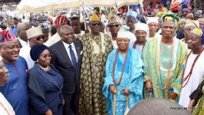 Lagos State Governor, Mr. Akinwunmi Ambode (3rd left); Deputy Governor, Dr. (Mrs) Oluranti Adebule (2nd left); Speaker, Lagos State House of Assembly, Rt. Hon. Mudashiru Obasa (left); Oba of Lagos, Oba Rilwan Akiolu I (middle) and other Traditional rulers during the inauguration of Lagos Neigbourhood Safety Corps (LNSC) at the Agege Mini Stadium, Lagos, on Monday, March 27, 2017.