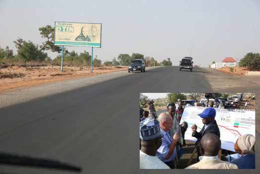 The completed of the ongoing rehabilitation work on the Gombe - Numan -Yola  Phase ll (Gombe-Kaltungo) Federal Highway. INSET: Hon. Minister of Power, Works & Housing, Mr Babatunde Fashola,SAN(right) being briefed by the Managing Director, Messrs. Triacta Nigeria Limited, Mr Elie Farhat and others during the Hon. Minister's inspection tour of the Rehabilitation of Gombe - Numan -Yola Road Phase ll (Gombe-Kaltungo) in Gombe State on Friday 17, March 2017.