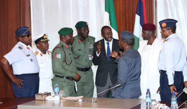 Acting President Osinbajo with service chiefs [Photo Credit: NAN]