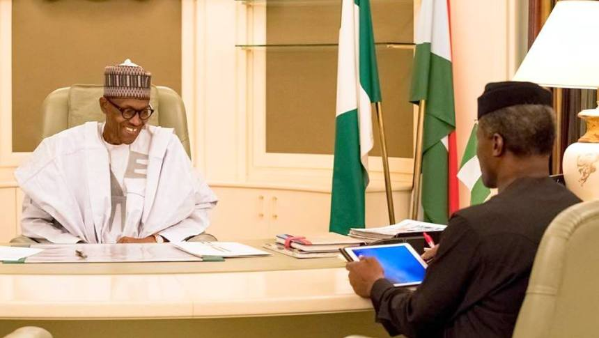 President Muhammadu Buhari with Vice President, Yemi Osinbajo