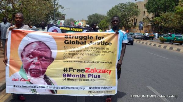 Shi'a members demanding the release of Ibrahim El-Zakzaky in Abuja