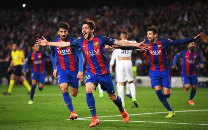 Barcelona's Sergi Roberto celebrating after scoring [Photo: The Telegraph]