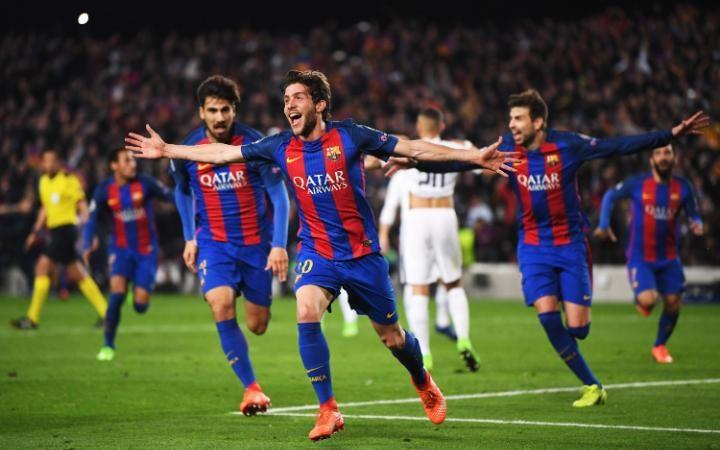 Barcelona's Sergi Roberto celebrating after scoring [Photo: The Telegraph]