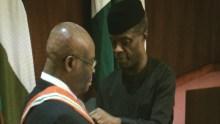 Chief Justice of Nigeria, Walter Onnoghen being sworn in as CJN by Vice President, Yemi Osinbajo