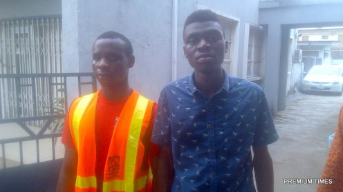 Femi Adeyeye and the visually impaired student, after regaining their freedom